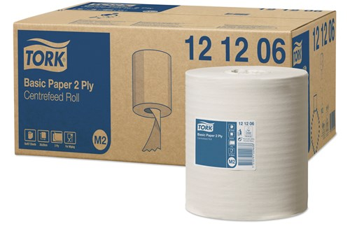Tork 121206,M2 Centerfeed wiping paper, 2-ply, 6x160m