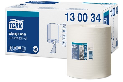 Tork 130034,PREMIUM M2 Centerfeed Wiping Paper,1-ply,6x135m