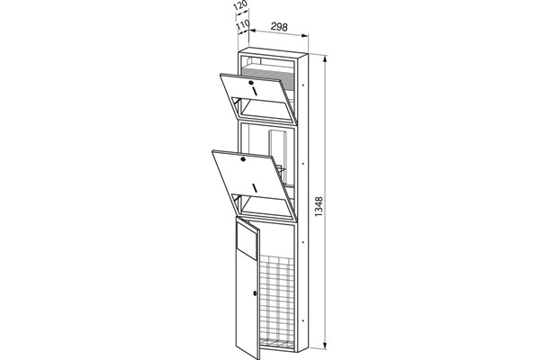 Wagner EWAR WP 500,A-LINE inbouw combinatie zeep/ZZ papier/afval
