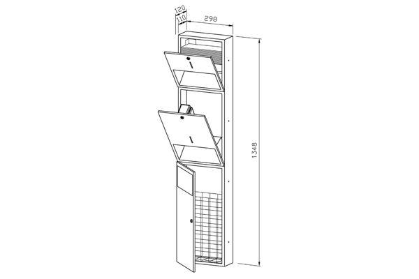 Wagner EWAR WP 500E,A-LINE inbouw combinatie zeep/papier/afval