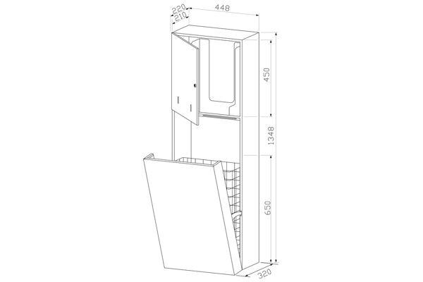 Wagner EWAR WP 5710,A-LINE inbouw combinatie zeep/ZZ papier/afval