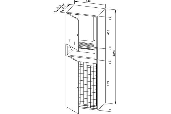 Wagner EWAR WP 5720,A-LINE inbouw combinatie zeep/ZZ papier/afval