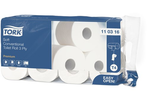 Tork 110316,PREMIUM T4 Soft Toilet Paper Roll 72x250 Sheet