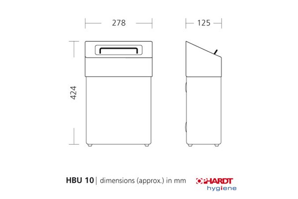SanTRAL HBU 10 P hygiëne afvalbak 10 liter