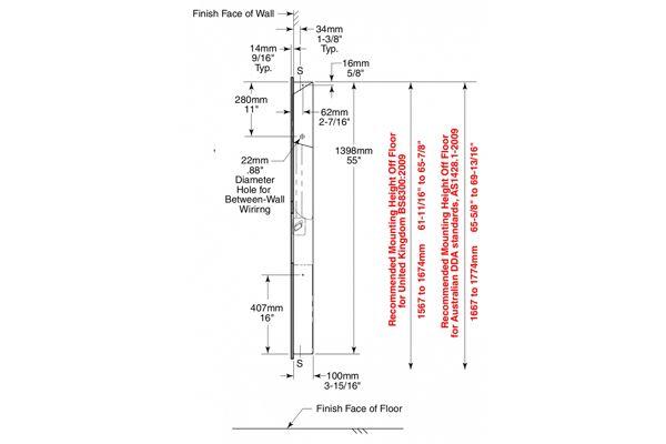 Bobrick B-38030,TRIMLINE inbouw handdroger/papier/afval 230V