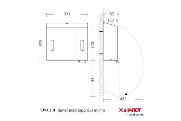 Ophardt SanTRAL CPU 2R P/F combinatie foamzeep/ZZ papier