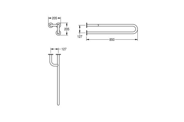 Franke CNTX40NL,CONTINA wandbeugel links 205X205X850 mm.