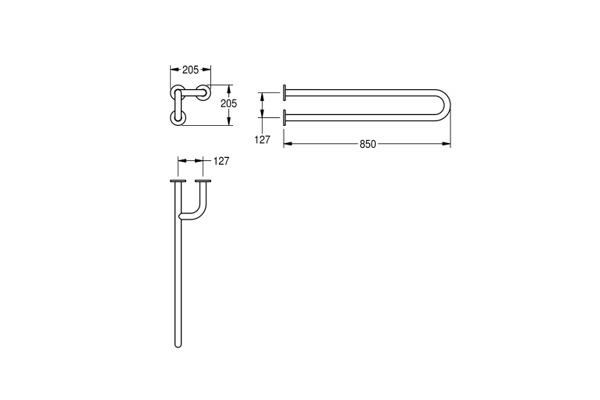 Franke CNTX40NR,CONTINA wandbeugel rechts 205x205x850 mm
