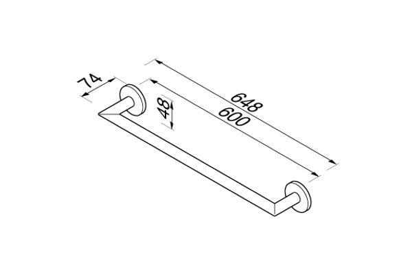 Geesa 916507-02-60 NEMOX wandhanddoekhouder 60 cm.