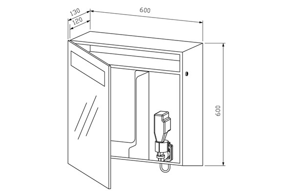 Wagner EWAR WP 650-5,A-LINE spiegelkast met foamzeep/ZZ papier