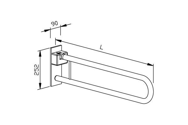 Wagner EWAR BF 670 opklapbare toiletsteun 600 mm.