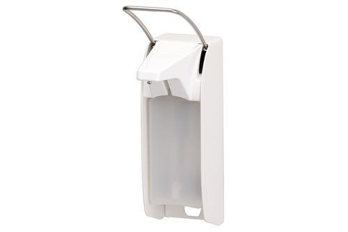 ingo-man plus Dávkovač mýdla a dezinfekce 500 ml, krátká páčka, bílý hliník