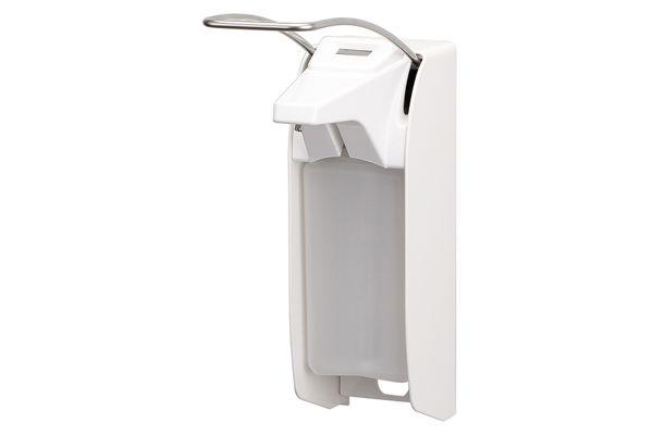 Dávkovač mýdla a dezinfekce 500 ml, dlouhá páčka, bílý hliník, s počitadlem
