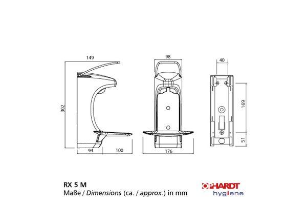 OPHARDT Hygiene Dávkovač (1,5 ml) mýdla a dezinfekce 500 ml, uzamykatelný, plast