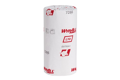 Kimberly-Clark 7286,WYPALL L10 EXTRA+ Wipers - Small Roll / White