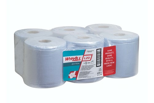 Kimberly-Clark 7302,WYPALL L20 EXTRA Wipers - Centrefeed Roll