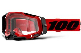 100% RACECRAFT 2 RED CLEAR LENS GOGGLE