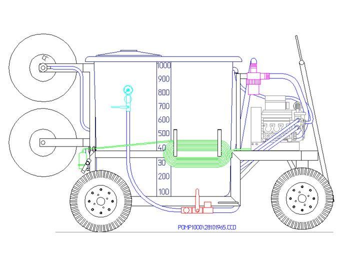 Spray Cart 1000K - Plunger Pump GM4380 42l/min~80bar - 2x Hand Reel 600mm
